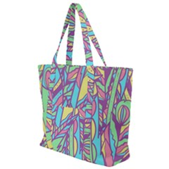 Feathers Pattern Zip Up Canvas Bag by Sobalvarro
