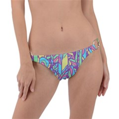 Feathers Pattern Ring Detail Bikini Bottom