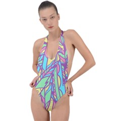 Feathers Pattern Backless Halter One Piece Swimsuit