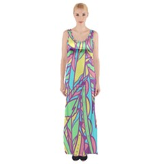 Feathers Pattern Thigh Split Maxi Dress by Sobalvarro