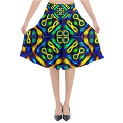 Pattern Geometric Glow Colors Lines Seamless Flared Midi Skirt