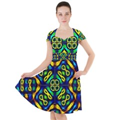Pattern Geometric Glow Colors Lines Seamless Cap Sleeve Midi Dress by Vaneshart