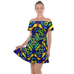 Pattern Geometric Glow Colors Lines Seamless Off Shoulder Velour Dress