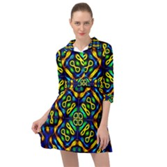 Pattern Geometric Glow Colors Lines Seamless Mini Skater Shirt Dress