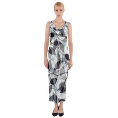 Leaves Pattern Colors Nature Design Fitted Maxi Dress