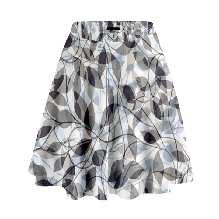 Leaves Pattern Colors Nature Design High Waist Skirt