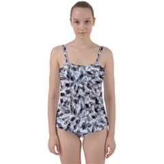 Leaves Pattern Colors Nature Design Twist Front Tankini Set by Vaneshart