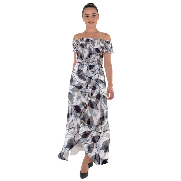 Leaves Pattern Colors Nature Design Off Shoulder Open Front Chiffon Dress