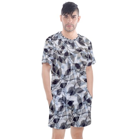Leaves Pattern Colors Nature Design Men s Mesh Tee And Shorts Set by Vaneshart