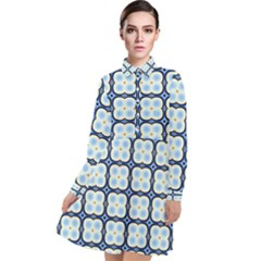 Pattern Design Art Scrapbooking Geometric Cubes Long Sleeve Chiffon Shirt Dress by Vaneshart