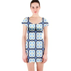 Pattern Design Art Scrapbooking Geometric Cubes Short Sleeve Bodycon Dress by Vaneshart