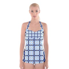 Pattern Design Art Scrapbooking Geometric Cubes Boyleg Halter Swimsuit