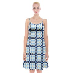 Pattern Design Art Scrapbooking Geometric Cubes Spaghetti Strap Velvet Dress
