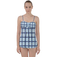 Pattern Design Art Scrapbooking Geometric Cubes Babydoll Tankini Set by Vaneshart