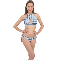 Pattern Design Art Scrapbooking Geometric Cubes Cross Front Halter Bikini Set by Vaneshart