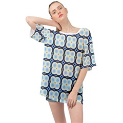 Pattern Design Art Scrapbooking Geometric Cubes Oversized Chiffon Top by Vaneshart
