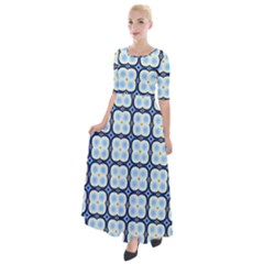 Pattern Design Art Scrapbooking Geometric Cubes Half Sleeves Maxi Dress by Vaneshart