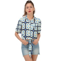 Pattern Design Art Scrapbooking Geometric Cubes Tie Front Shirt