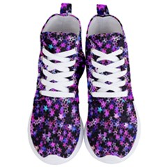 Christmas Paper Star Texture Women s Lightweight High Top Sneakers