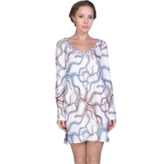 Pearl Pattern Floral Design Art Digital Seamless Long Sleeve Nightdress