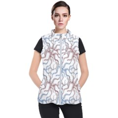Pearl Pattern Floral Design Art Digital Seamless Women s Puffer Vest