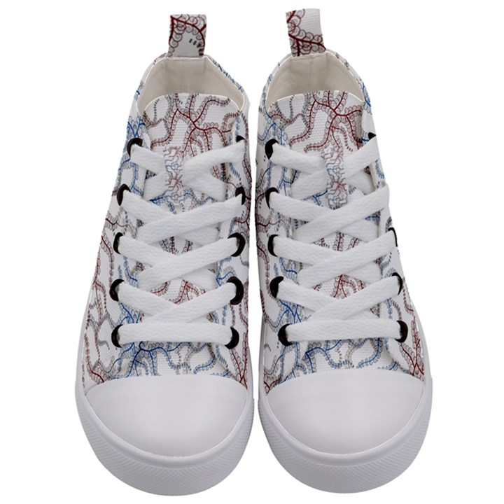 Pearl Pattern Floral Design Art Digital Seamless Kids  Mid-Top Canvas Sneakers