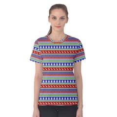 Christmas Color Stripes Pattern Women s Cotton Tee