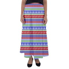Christmas Color Stripes Pattern Flared Maxi Skirt