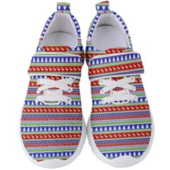 Christmas Color Stripes Pattern Women s Velcro Strap Shoes by Vaneshart