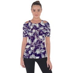 Leaves Pattern Colors Nature Design Shoulder Cut Out Short Sleeve Top by Vaneshart