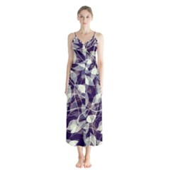 Leaves Pattern Colors Nature Design Button Up Chiffon Maxi Dress by Vaneshart