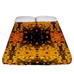 Pattern Wallpaper Background Yellow Amber Black Fitted Sheet (king Size)