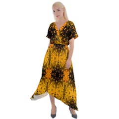 Pattern Wallpaper Background Yellow Amber Black Cross Front Sharkbite Hem Maxi Dress