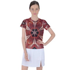 Star Pattern Red Abstract Women s Mesh Sports Top