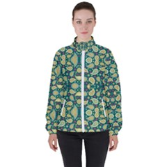 Pattern Abstract Paisley Swirls Artwork Creative Decoration Design Filigree Women s High Neck Windbreaker