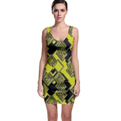 Seamless Pattern Background  Gold Yellow Black Bodycon Dress