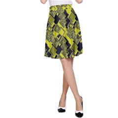 Seamless Pattern Background  Gold Yellow Black A Line Skirt