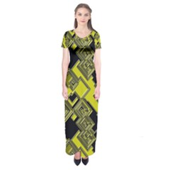 Seamless Pattern Background  Gold Yellow Black Short Sleeve Maxi Dress