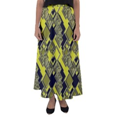 Seamless Pattern Background  Gold Yellow Black Flared Maxi Skirt