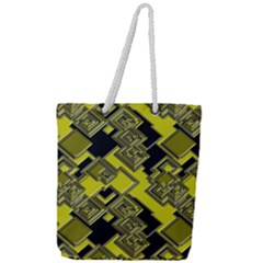 Seamless Pattern Background  Gold Yellow Black Full Print Rope Handle Tote (large)