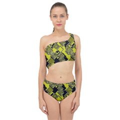 Seamless Pattern Background  Gold Yellow Black Spliced Up Two Piece Swimsuit by Vaneshart