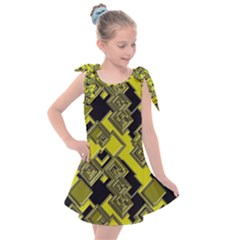 Seamless Pattern Background  Gold Yellow Black Kids  Tie Up Tunic Dress