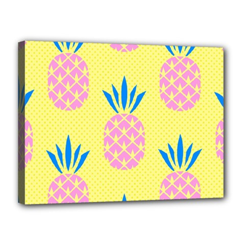 Summer Pineapple Seamless Pattern Canvas 16  X 12  (stretched) by Sobalvarro