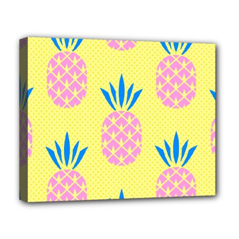 Summer Pineapple Seamless Pattern Deluxe Canvas 20  X 16  (stretched) by Sobalvarro