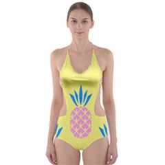Summer Pineapple Seamless Pattern Cut Out One Piece Swimsuit by Sobalvarro