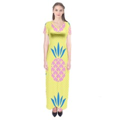 Summer Pineapple Seamless Pattern Short Sleeve Maxi Dress by Sobalvarro