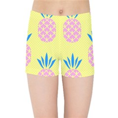Summer Pineapple Seamless Pattern Kids  Sports Shorts by Sobalvarro