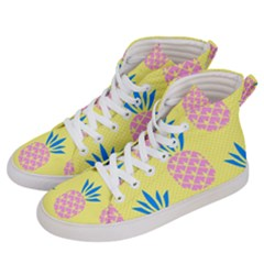 Summer Pineapple Seamless Pattern Women s Hi-top Skate Sneakers by Sobalvarro