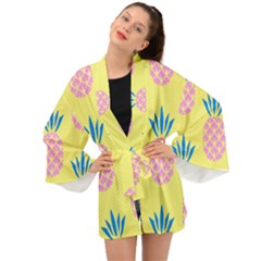 Summer Pineapple Seamless Pattern Long Sleeve Kimono by Sobalvarro