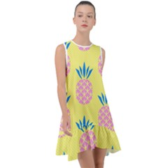 Summer Pineapple Seamless Pattern Frill Swing Dress by Sobalvarro
